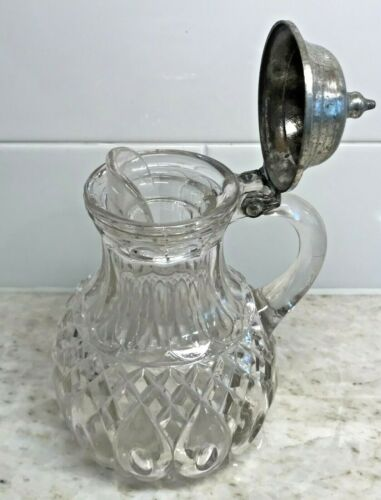 """Victorian Blown Antique Pattern Glass Syrup Heavy Pitcher Vintage Creamer 7""""tall"""