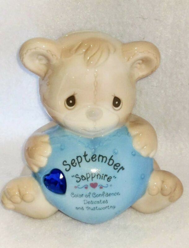 Precious Moments September Sapphire Jewel Ceramic Birthstone Bear Piggy Bank