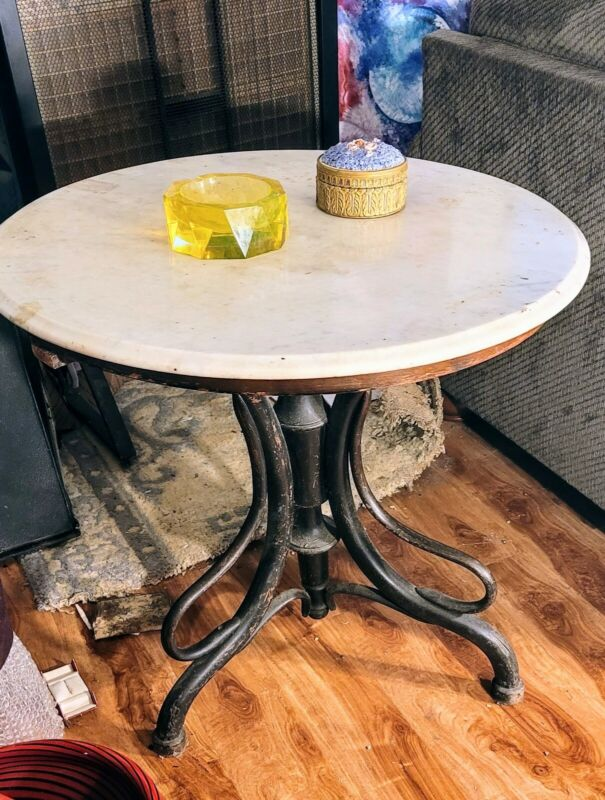 Antique 1850-1915 Bentwood Table THONET or J&J KORN Carrera Marble Top