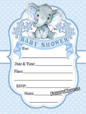 20 BLUE ELEPHANT BABY SHOWER INVITATIONS  -