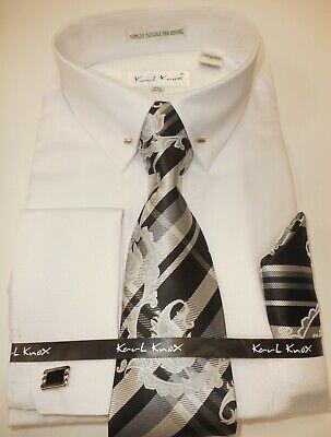 Mens White Eyelet Pin Collar Bar French Cuff Dress Shirt Tie Set Karl Knox 4401 Collar French Cuff Dress Shirt