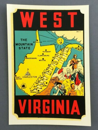 1960s West Virginia Mountain State Luggage Auto Decal Lindgren Turner Envelope