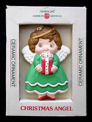 CHRISTMAS CERAMIC ANGEL BY AMERICARD 1980'S - 3-1/2 X 2-1/2