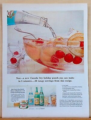 1956 magazine ad for Canada Dry - Christmas Holiday Punch recipe, make in 5 - Christmas Punch Recipe