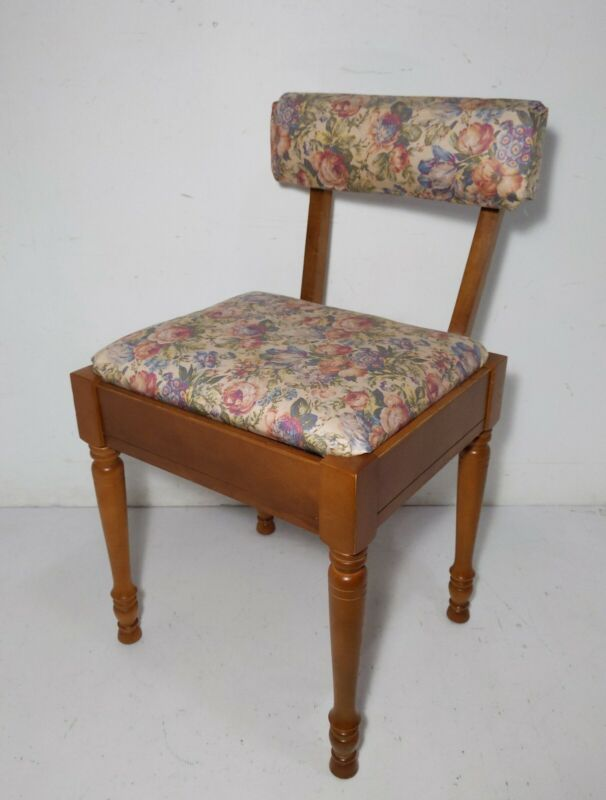 Vintage Mid Century Maple Wood Sewing Machine Chair Stool with Seat Storage