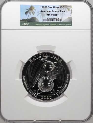 2020 5oz SILVER 25C American Samoa Park NGC MS 69 DPL Deep Proof Like must see!