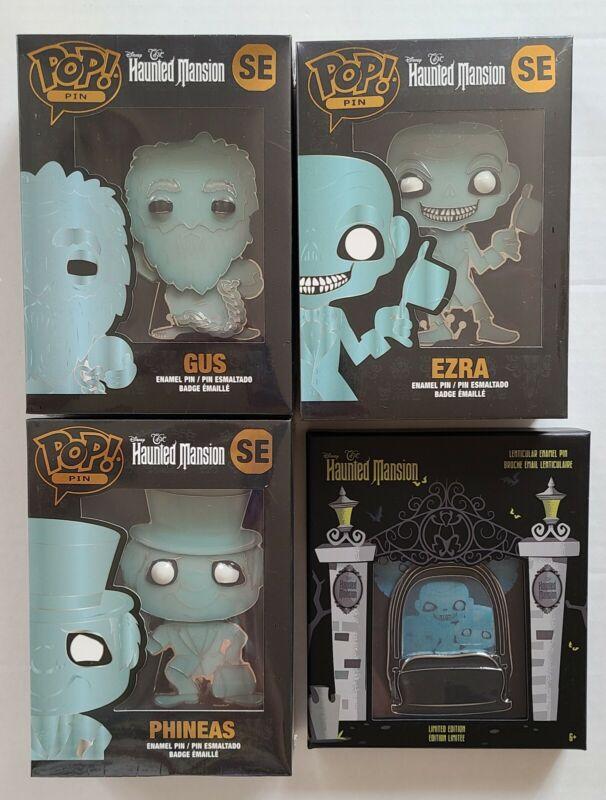 Disney Funko Pop 4 Haunted Mansion Hitchhiking Ghost Pin Set Gus Ezra Phineas