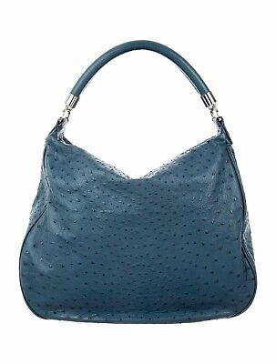 Tiffany & Co Marlow Hobo Ostrich Leather Blue Bag Purse