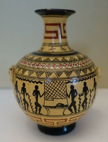 "ulz24 ANCIENT GREEK DIPYLON GEOMETRIC POTTERY REPRODUCTION vase, 5""  copy 800bc"