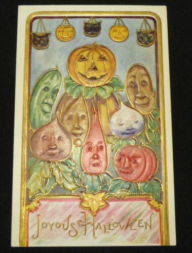 Antique Halloween Anthropomorphic Veggie Head Jackolantern PC Embossed w/ Gold