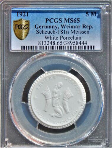 Germany 1921 5 Mark PCGS MS65 Scheuch-181n Meissen White Porcelain Meissen Coin