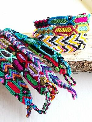 Woven Cotton Friendship Bracelets, Set of 12, Patterned Bands, Multi Colour](Friendship Bracelet Pattern)