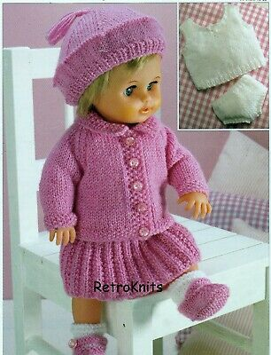 DOLL  KNITTING PATTERN DOLL'S OUTFIT  DK   12 - 22 INS  PRINTED ON HEAVY PAPER