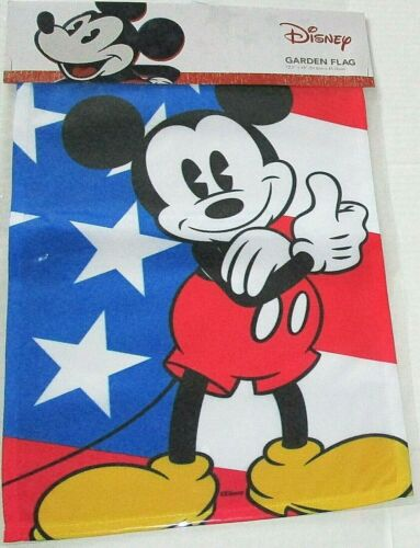 """DISNEY PATRIOTIC GARDEN FLAG 12.5""""x 18""""  MICKEY IN FRONT OF AN  AMERICAN FLAG"""