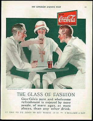 1920s BIG Old Vintage Early Coca-Cola Men Woman Fashion Art Print Ad