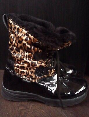 Women's Khombu Black Leopard Weather resistant  Winter Boots SIZE 5 Non Skid