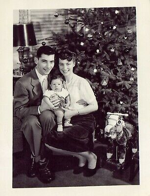 Vintage Old 1950s Photo of a Family 1st Christmas with Baby KIM RANDALL HOGENSON ()