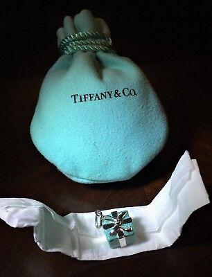 $260 Tiffany & Co. Sterling Silver AG 925 Blue Enamel Gift Box Charm w/ Pouch