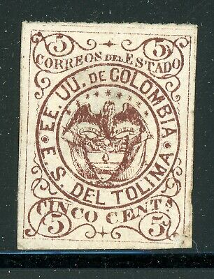 TOLIMA Early MNG Selections: Scott #9a 5c Red Brown Arms (1871) CV$4+
