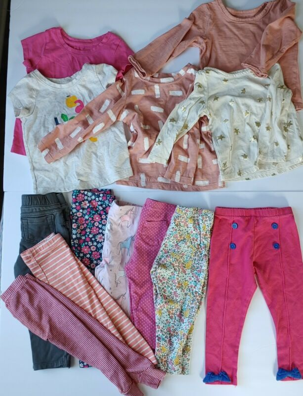 18 Months Girl Clothes (lot Of 13) Pants, Long Sleeve & Short Sleeve
