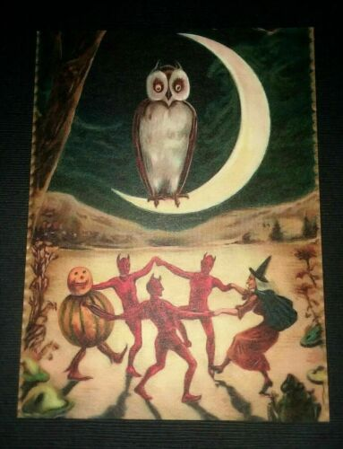 *UNUSED* Halloween Postcard: Dancing Demons & Witches Vintage Image~Reproduction
