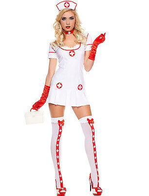 Sexy Adult Halloween Naughty Nurse Costume w Thigh-High - Naughty Adult Halloween Kostüme