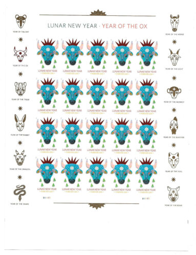 Scott #5556a IMPERFORATE (NO DIE-CUT) Year of the Ox  Pane of 20, MNH-SOLD OUT