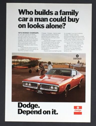 1972 Dodge Charger Advertisement Family Muscle Car Airplane Vintage Print AD