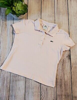 LACOSTE Women's Size 38 Light Pink Short Sleeve Polo Shirt Top