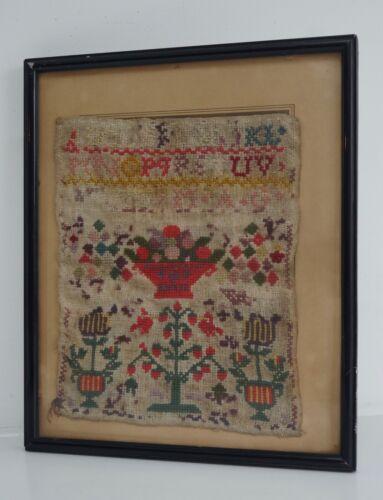 19th Century Antique Embroidery Needlework Sampler