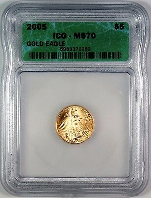 2005 $5 American Gold Eagle ICG MS70