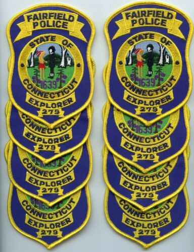 FAIRFIELD CONNECTICUT CT Trade Stock 8 Police Patches EXPLORER POLICE PATCH