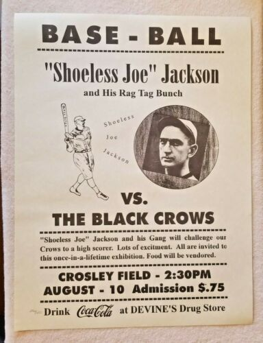 Shoeless Joe Jackson Vs The Black Crows Limited Numbered Print Rare - White Sox