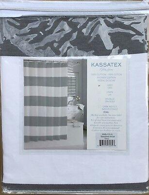 NEW Kassatex Hamptons Gray / White Stripe Shower Curtain ~ 72 x 72 ~ 100% Cotton