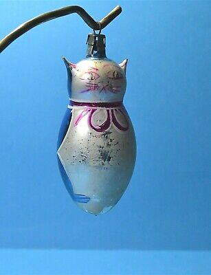 CHRISTMAS MERCURY GLASS ORNAMENT VINTAGE GERMAN 1960's BLUE and WHITE CAT SL07