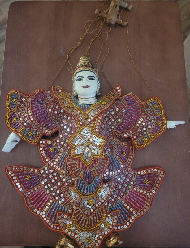 "Thailand Marionette Puppet Handmade Stringed Gold Beads 14 1/2"" X 13 1/2"""