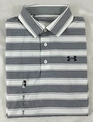 Under Armour Men's Golf Polo Heat Gear White Black Stripes 1306330 Size XL