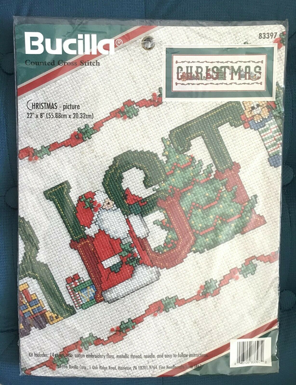 1996 Bucilla Christmas Picture Counted Cross Stitch Kit 22""