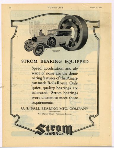 1921 Strom Bearings Ad: American Made Rolls Royce Automobile Featured