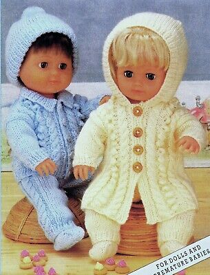 """Knitting Pattern DK Baby Dolls Clothes  12 16 20"""" Cable Coat with hood & Jacket"""