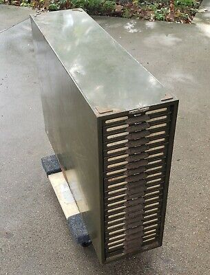 Vintage Remington Rand Kardex 22 Tray Metal Kardex File Cabinet. Heavy Duty.