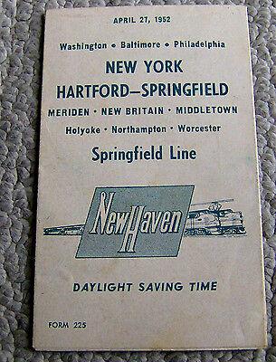 vintage 1952 NEW HAVEN RAILROAD timetable SCHEDULE New York-Hartford-Springfield