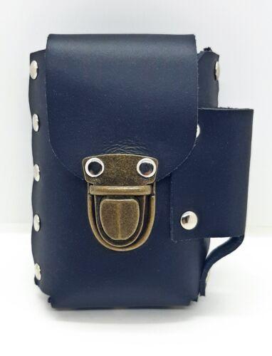 Ninc Black Genuine Leather Belt Hoop Cigarette Case W/ Lighter Pocket