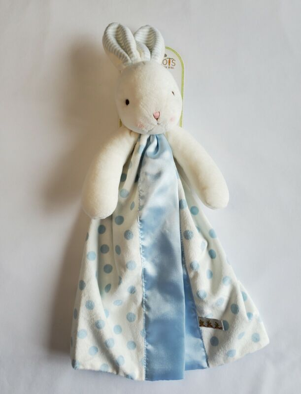 Bunnies By The Bay Carrots White Bunny Baby Security Blanket Lovey Blue Dots NEW
