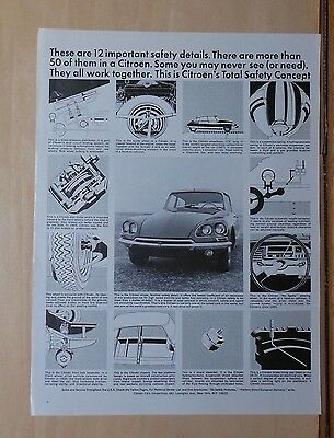 1968 magazine ad for Citroen - 12 Important Safety details, Total Safety Concept