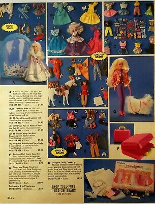 1994 Vintage PAPER PRINT AD Barbie Sindy Gogo Crystal ice doll clothing mansion