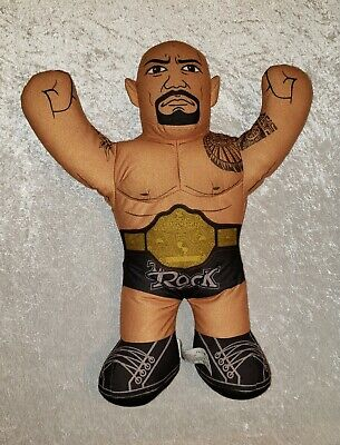 "Brawlin Buddies Dwayne THE ROCK Johnson Plush Wrestler Doll 16"" WWE 2012"
