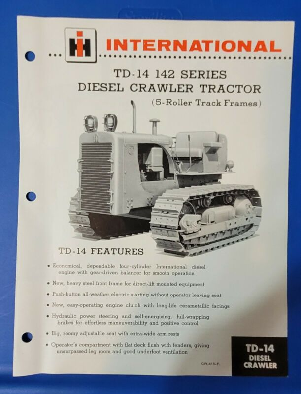 International TD-14 142 Series Crawler Tractor 5 Roller Brochure CR-415-F