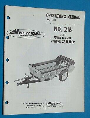 Vintage New Idea Farm Equipment 216 Manure Spreader Operators Manual 1972