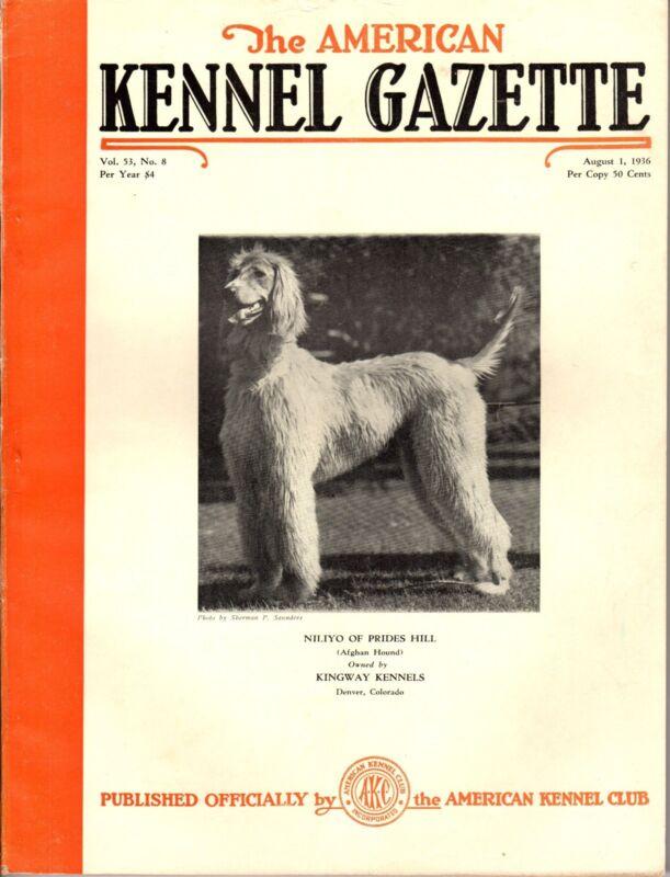 Vintage American Kennel Gazette August 1936 Afghan Hound Cover